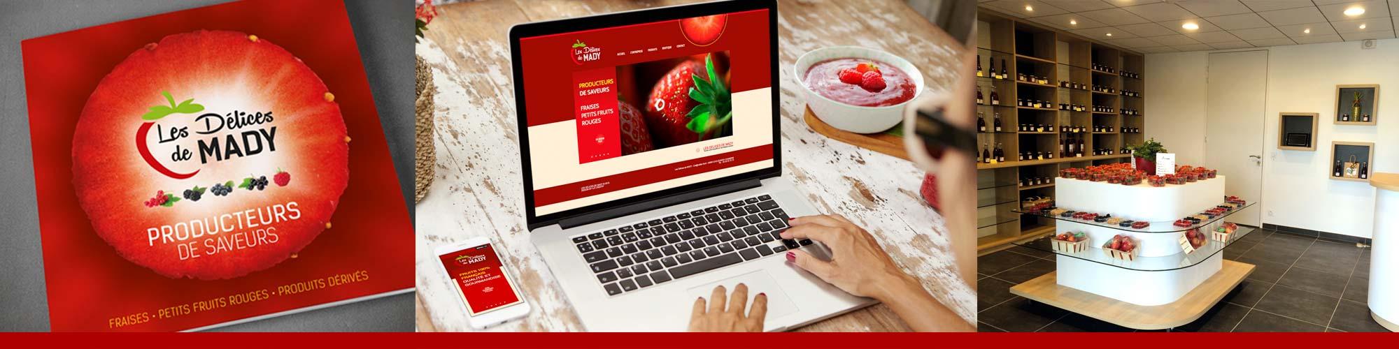 Les Délices de Mady est une entreprise spécialisée dans la production et la transformation de fruits rouges frais / Accompagnement ILÔ Créatif : Identité, univers de marque, packagings et design d'espace