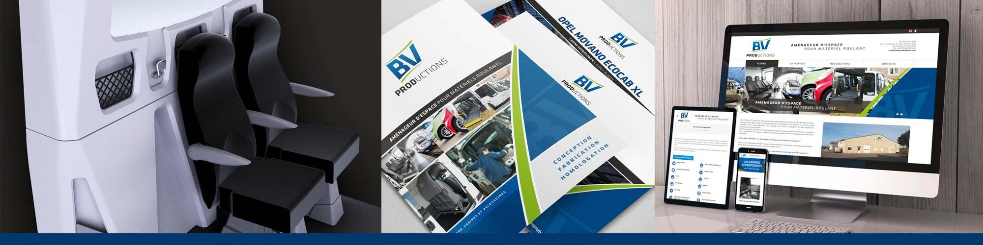 BV productions - Entreprise spécialisée dans la conception et fabrication d'aménagement pour les véhicules roulants / Accompagnement ILÔ Créatif : Identité de marque & Design de produit